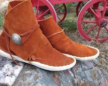 Vintage Deerhide Hopi or Zuni Pueblo Moccasins Silver Sunface Concho Hippie Boho Woodland Moccasin Ankle Boots Women's 8-8.5 Men's 6-6.5