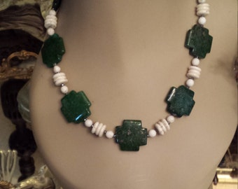 One strand necklace made with white buffalo stone and green cross turquoise