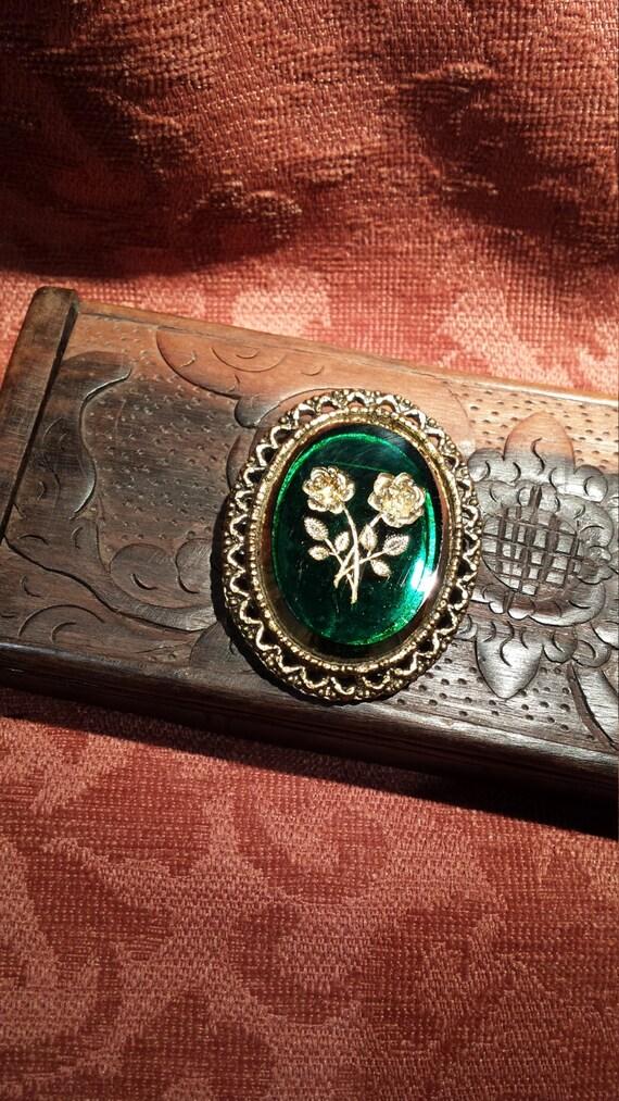 Vintage dark green glass cut rose pendant