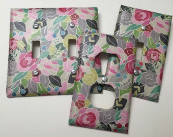 Pink Roses, Grey, Green, Blue, Light switch covers,light switch plate,outlet covers,outlet plates,home decor, wall art