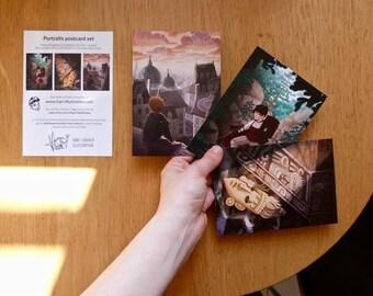 Fantasy postcard set - fine-printed 3 card set