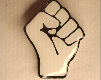 Raised Fist Solidarity Pin (White)