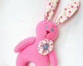 SALE Pink bunny plush toy children gift soft toy animal stuffed toy ecofriendly toy