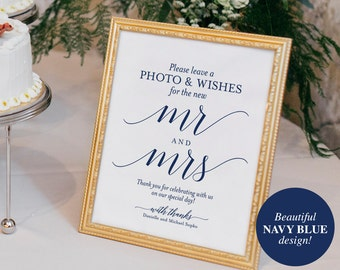 Photo Guest Book Sign, Wedding Guest Book Sign, Printable, Guest Book Alternative, Navy Wedding Sign, PDF Instant Download #BPB320_45B