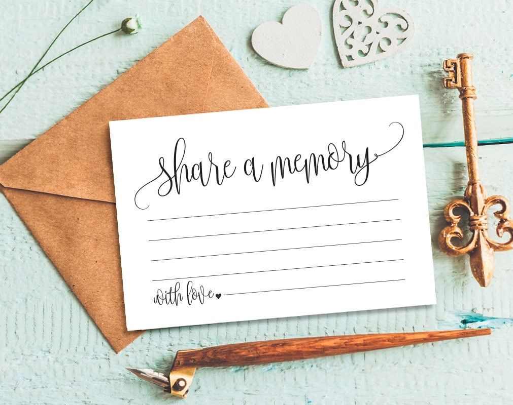 Share a Memory Card Memory Cards Share a Memory Printable – Funeral Cards Template