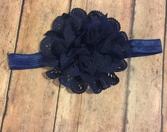 Navy Eyelet Flower Headband - Navy Eyelet Flower Hair Clip - Elastic Headband - Navy Headband - Navy Headband - baby headband - Newborn girl