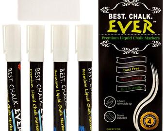 Best.Chalk.EVER White Liquid Chalk Markers (Set of 4 Bold White Chalkboard Pens) | Magic Eraser Included | (4.5mm Reversible tip)