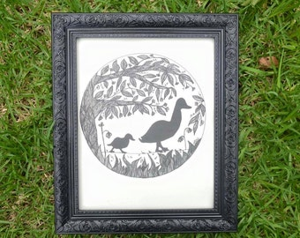 Mother and Baby Duck - Ducks Wall Art Print of Original Ink Drawing - Limited Edition Signed Illustration