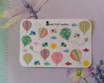 Cute Small Hot Air Balloon Stickers - one size fits all planners!