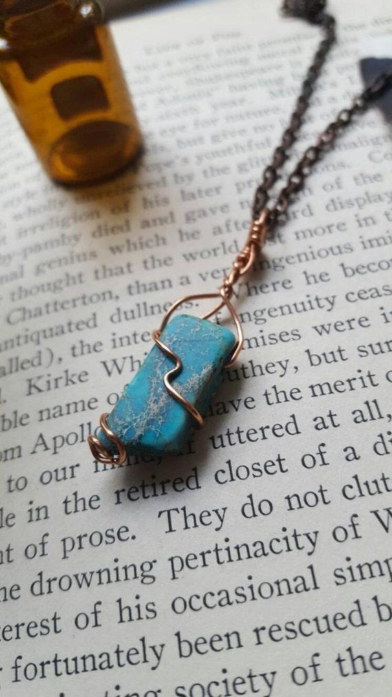 Blue jasper crystal pendant necklace