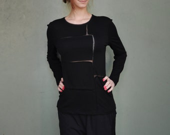 Asymmetrical Extravagant Blouse / Black Blouse / Black Extravagant Top