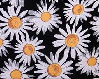 100% Rayon with Black Background with Lazy Susan Flower Print. Fabric by the yard