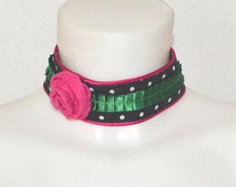 Dirndl necklace, textile necklace, fabric necklace, Oktoberfest jewelry, polka dots,necklace , bavarian necklace, textile necklace, choker