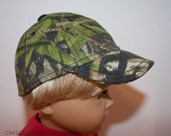 "18"" doll camo mossy oak hat / MADE to ORDER / 18inch doll camo baseball cap"