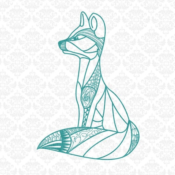 Fox Zentangle Filigree Henna Intricate Animal SVG DXF Ai Eps PNG Scalable Vector Instant Download Commercial Cut File Cricut Silhouette