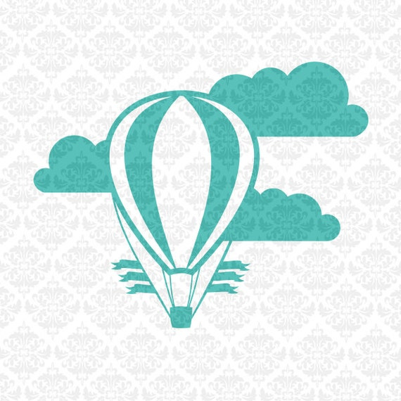 Hot Air Balloon Clouds Banner One Layer Set Nursery SVG STUDIO Ai EPS Scalable Vector Instant Download Commercial Use Cricut SIlhouette
