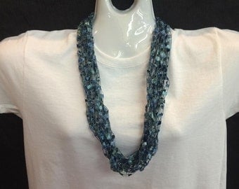 Turquoise crocheted ribbon necklace #111