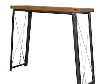 Oak/Steel INDUSTRIAL Breakfast Bar/Console Table , rustic, vintage, chic, cafe, restaurant