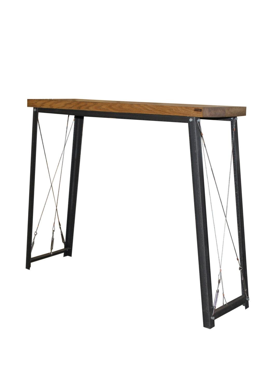 Oak steel industrial breakfast bar console table rustic for Console table haute bar
