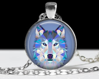 Blue Wolf Necklace Wolf Jewelry Necklace Wearable Art Pendant Charm Wolf Pendant Charm Wolf Keychain