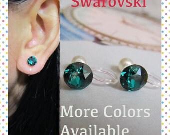 Emerald Green Swarovski May Birthstone Crystal Clip on earring |C5s| Bridal Wedding Rhinestone Clip on Earrings Magnetic Earring Alternative