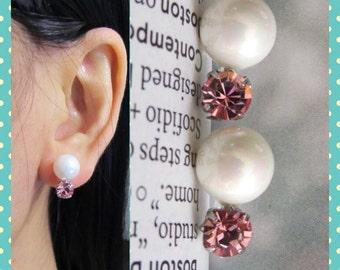 Pink Swarovski Crystal Wedding Clip on earrings, C28s, Bridal Clip on, Non pierced earrings, Pearl clip on, magnetic earring alternative