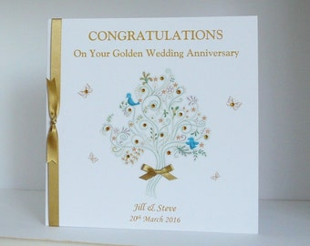 50th Golden  Wedding Anniversary Card for Wife/Husband/Mum/Dad/Friends etc Large Handmade Personalised
