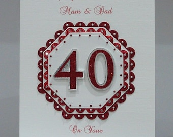 Personalised Ruby 40th Wedding Anniversary Card