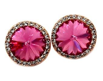 Little noble crystal golden rim earrings