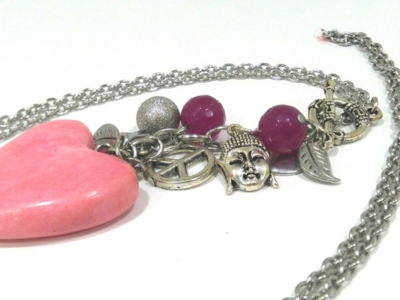 Lovely necklace with amethyst and various charms