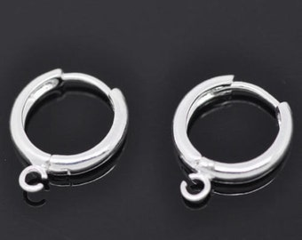 5 Pairs Silver Plated Earring Hoops with Loop 16x14mm