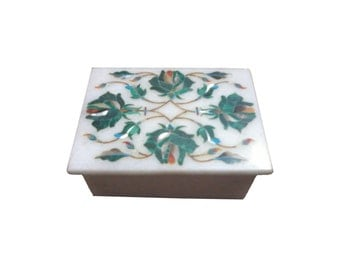 Green Handmade Jewelry box Marquetry marble inlay work with semiprecious stone/pietra dura