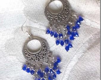 blue earrings, chandelier earrings, long earrings