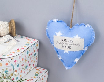 You are fearfully and wonderfully made encouragement fabric heart
