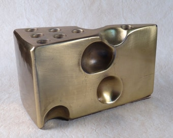 P M Craftsman Brass Swiss Cheese Pencil Holder