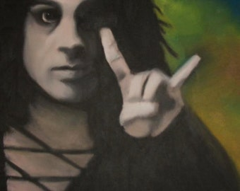 Ronnie James Dio of Rainbow, Black Sabbath print from original Oil Painting