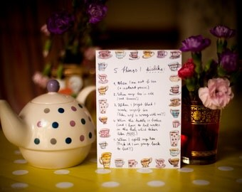 A6 Greeting Card Tea Freak Five Things I Dislike Recycled Paper Blank Inside Brown Ribbed Envelope
