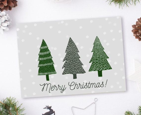 "Merry Christmas Modern Printable 5x7"" Greeting Card 