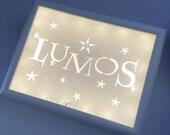 Lumos Nox White, Light Up Sign, Magic Wand, Shadow Box Light, Paper Cut Art, Geek Gift, Witch, Wizarding World, Fantasy Art, Christmas Gift
