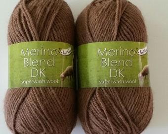 King Cole Merino Blend DK 100% wool Anti Tickle superwash 50g yarn Bark brown 857