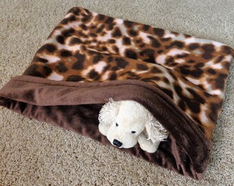 Snuggle Cuddle Sack Dog Burrow Bed Brown Animal Print Reversible Pet Gift