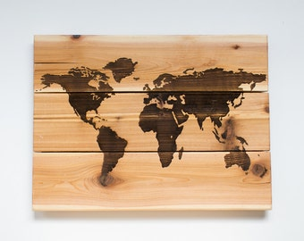 World Map on Wood-Personalized Rustic Globe-Customized Atlas- Laser Engraved-