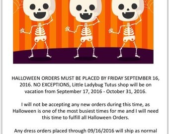 HALLOWEEN ORDERS INFORMATION                 ******do not purchase**
