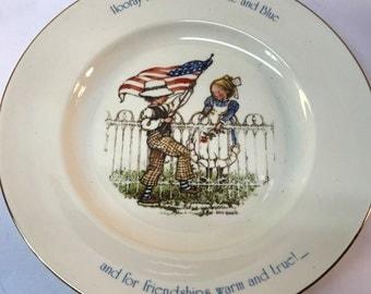 Vintage Plate Holly Hobbie 1976 Porcelain Freedom Series