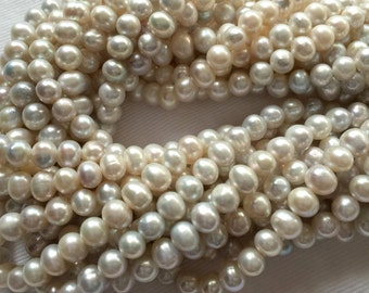 """Natural Freshwater 5.5-6mm Silver Potato Pearls, 16"""" strand, At Least 75 Per Strand, Lovely Lustre/Color, 13 Strands Available"""