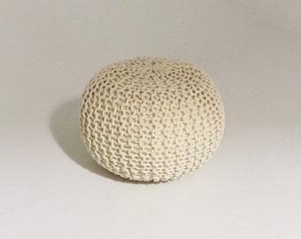 Handmade Knitted Pouf | Bone White | 50x35cm | Hand Knit Pouf Ottoman Footstool