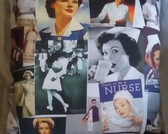"""16"""" Vintage WWII Nurse Print Pillow"""