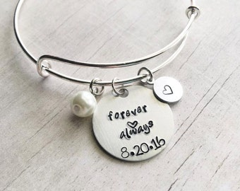 Gift for Bride to Be on Wedding Day - Forever and Always - Gift for Bride - Bangle Bracelet