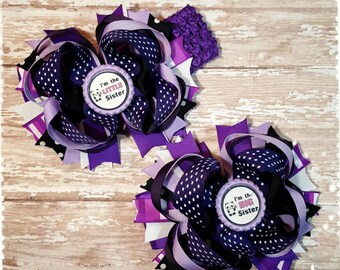 Big sister Little sister Hair bow, purple, white, black hairbow