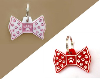Paw mark bow tie dog cat Idtag/ pink red customized colorful acrylic bow pet id tag